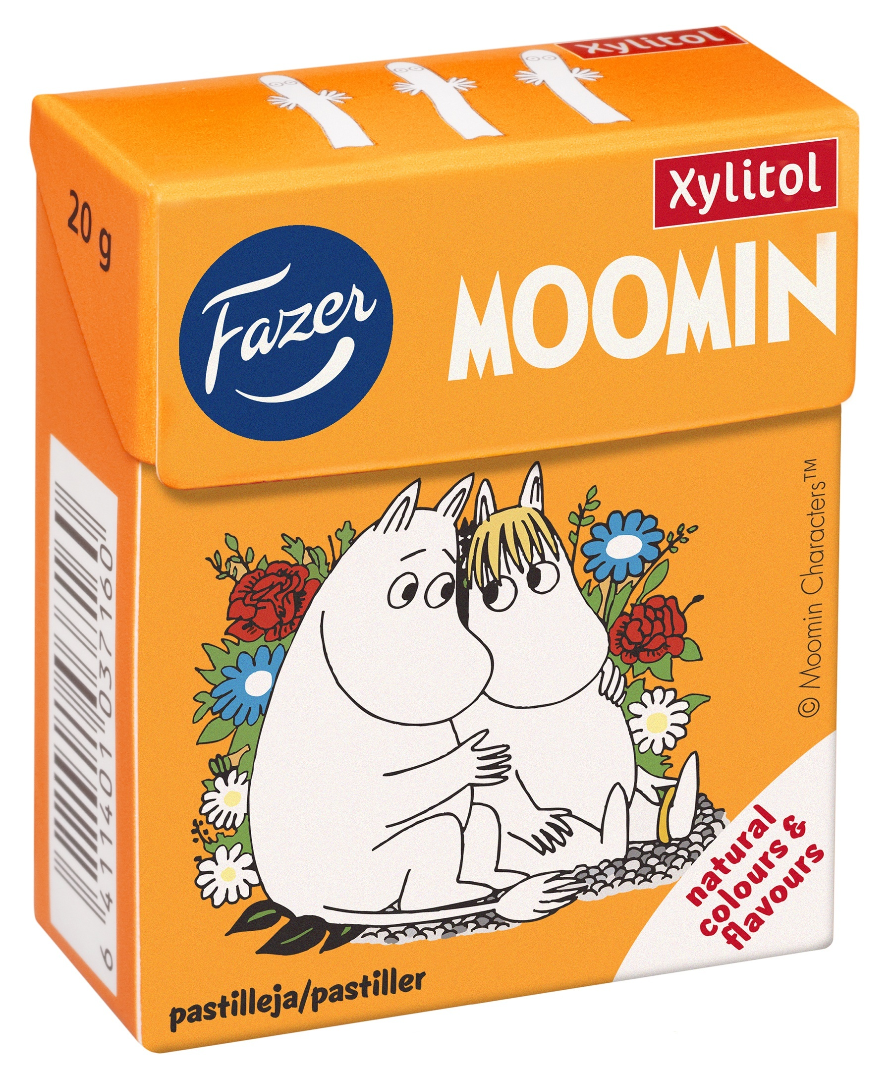 Fazer Moomin soft xylitol pastilles in 20 g box