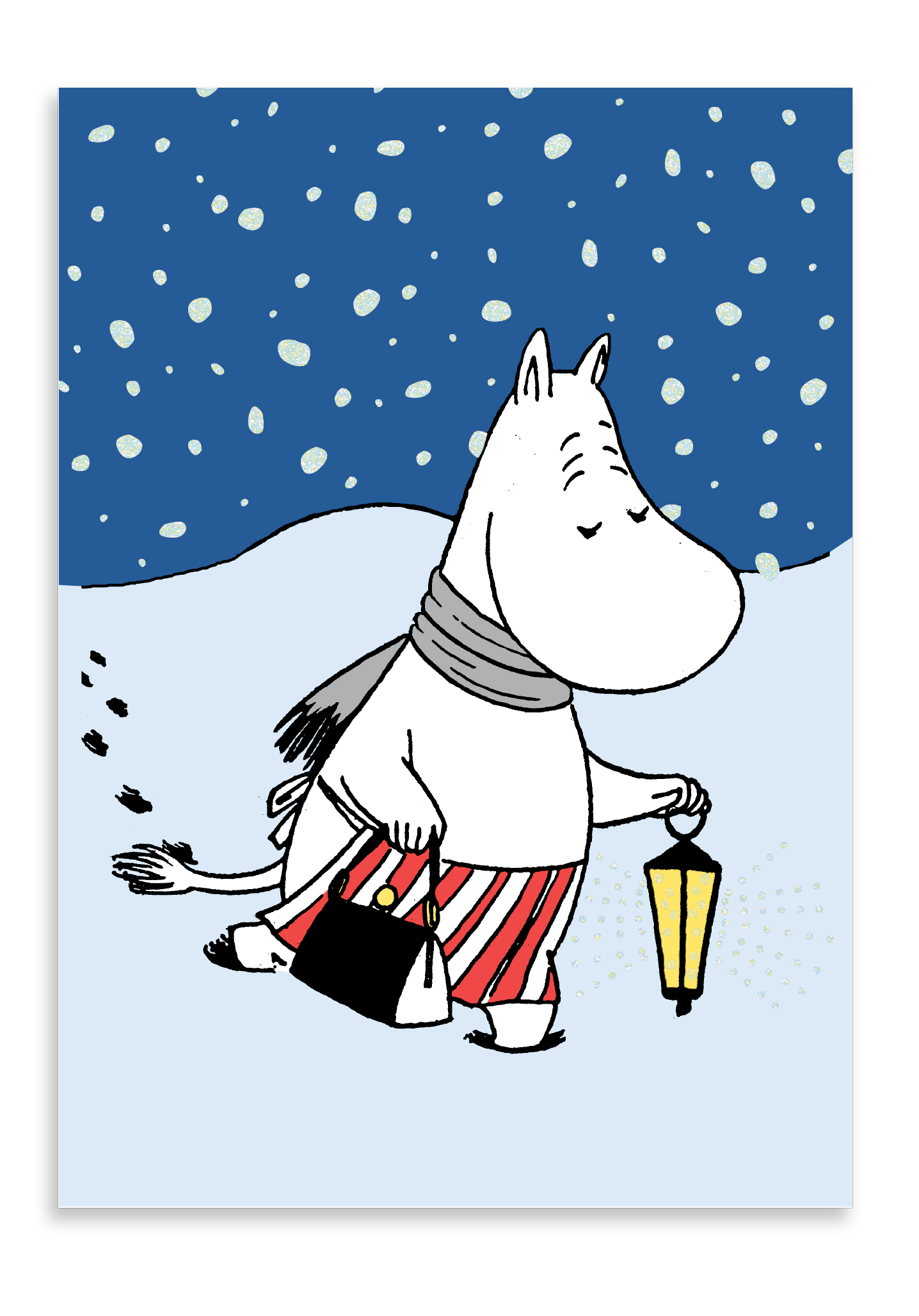 Putinki Winter postcard Moominmamma carrying a lamp