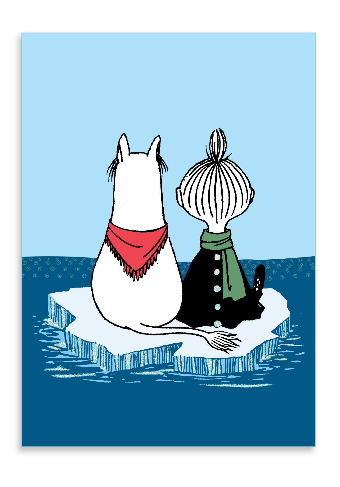 Putinki Winter postcard Snorkmaiden and Mymble on ice