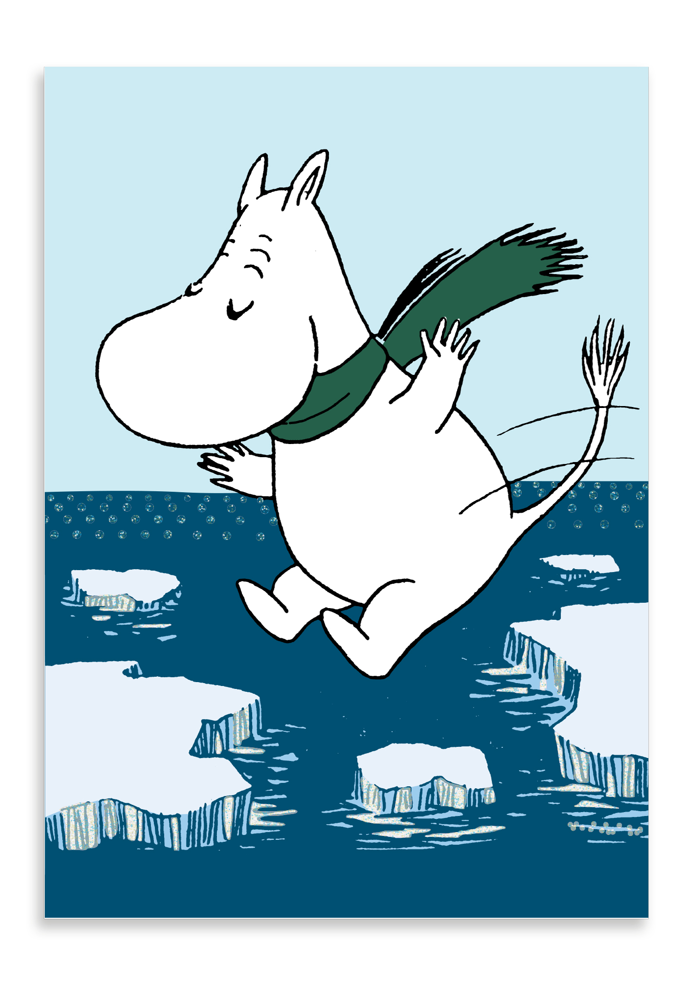Putinki Winter postcard Moomintroll jumping on ice