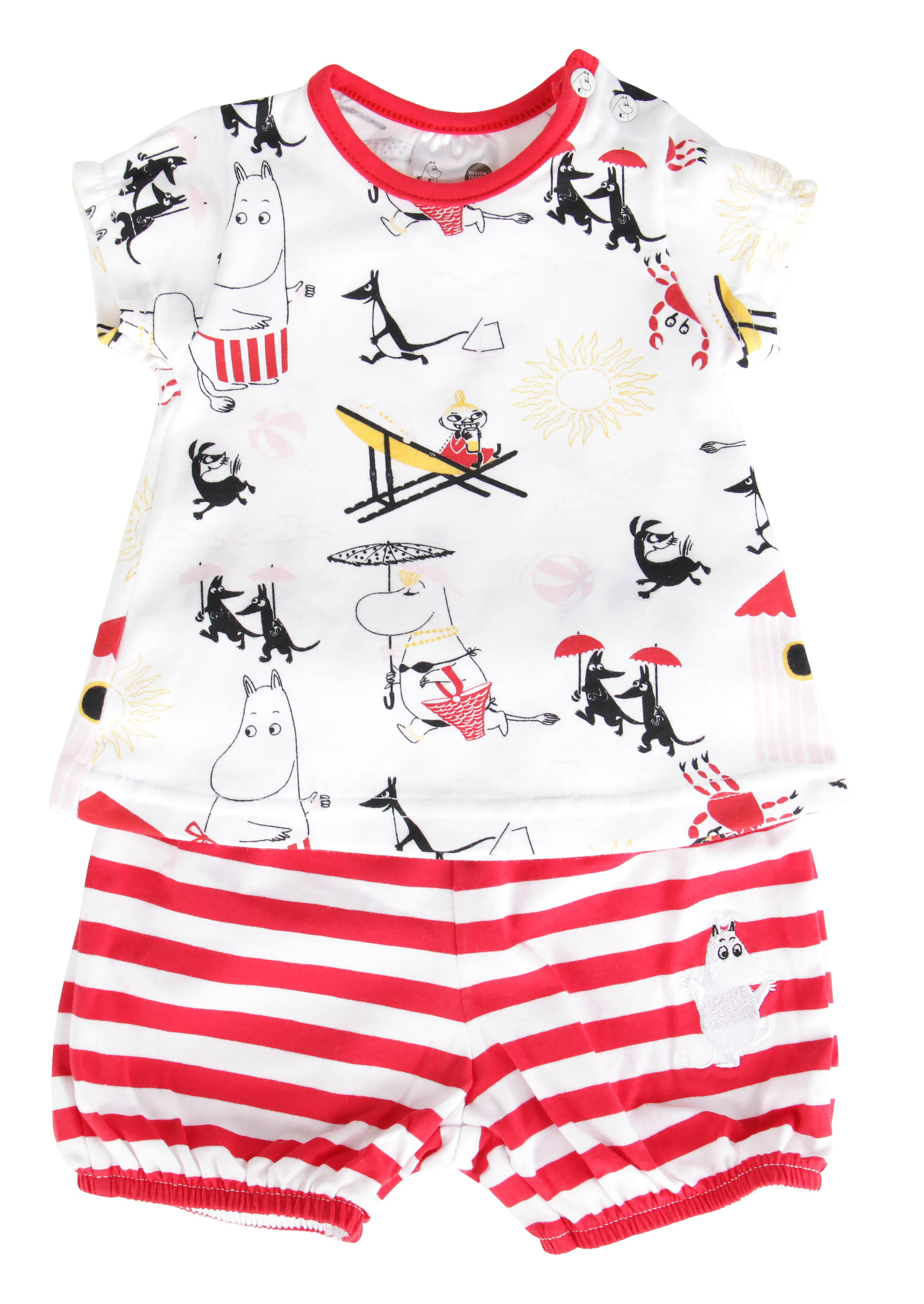 Martinex Moomin BEACH SHORTS SET WHT/RED