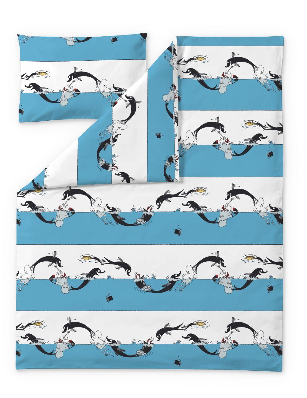 Finlayson DUVET COVER + PILLOWCASE DOLPHIN MOOMIN TURQUOISE/WHITE 120X160+40X60