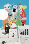 "Wall mural ""Moomin - Who will comfort Toffle?"" and canvas print ""Moomin, Snorkmaiden & Little My"""