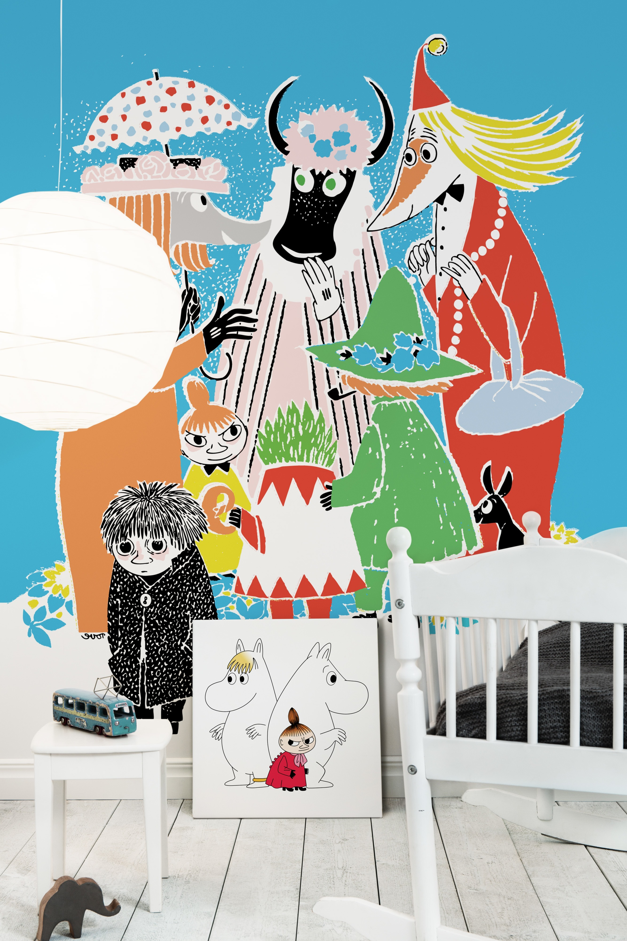 """Wall mural """"Moomin - Who will comfort Toffle?"""" and canvas print """"Moomin, Snorkmaiden & Little My"""""""