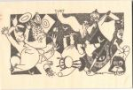 Come to Finland Moomin B&W wooden postcard - Moominpappa and friends