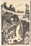 Come to Finland A5 Moomin B&W wooden postcard - valley