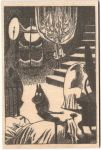 Come to Finland Moomin B&W wooden postcard - night