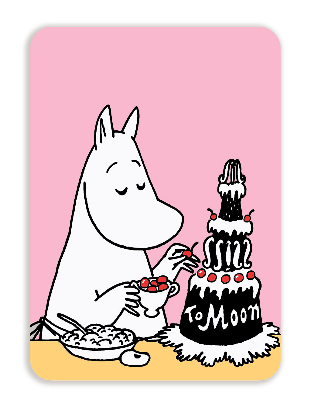 Putinki Postcard with rounded corners Moominmamma and a cake
