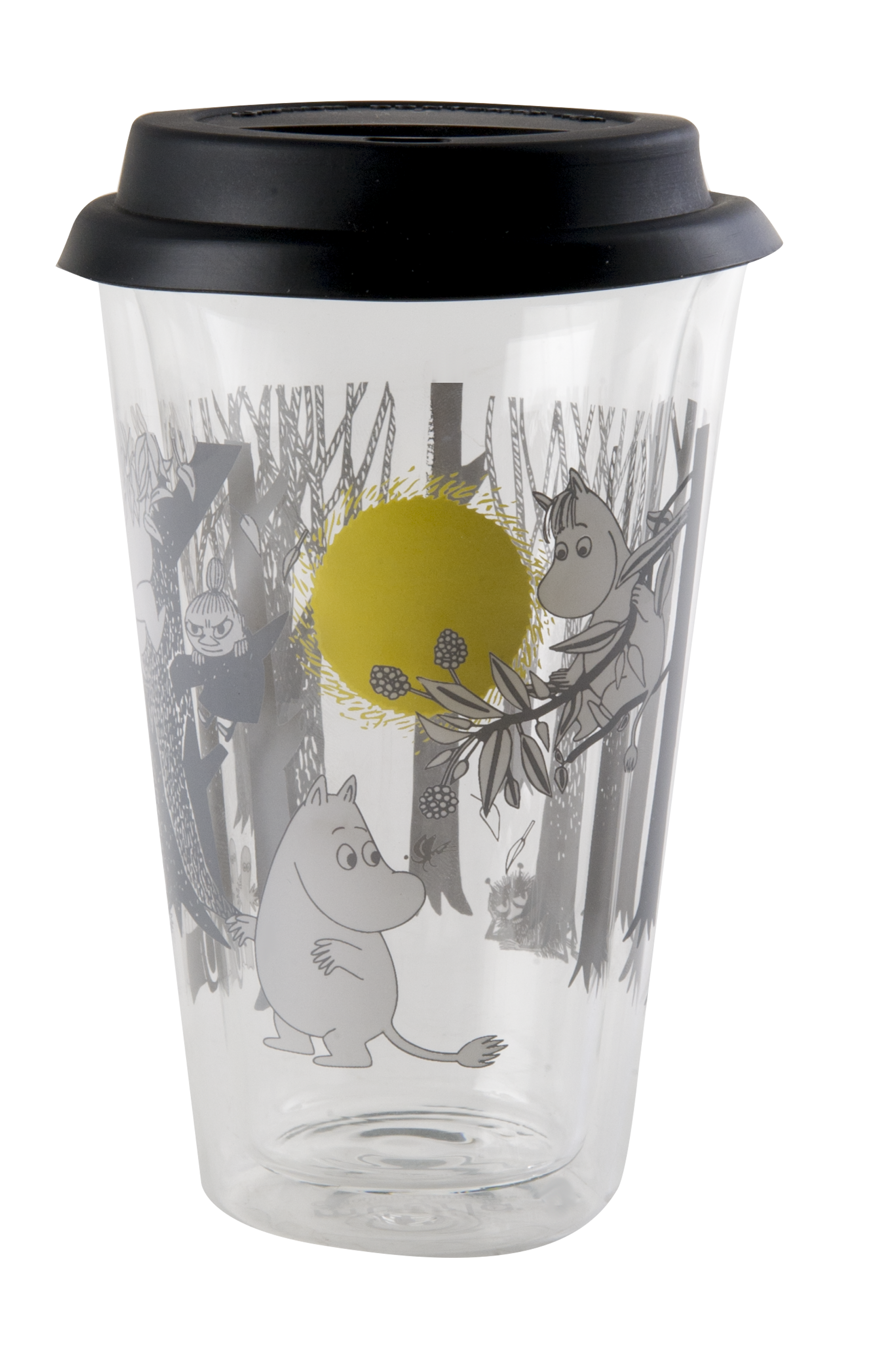 Muurla Glass Tumbler for hot drinks with silicon lid 4 dl, Moomin Forest