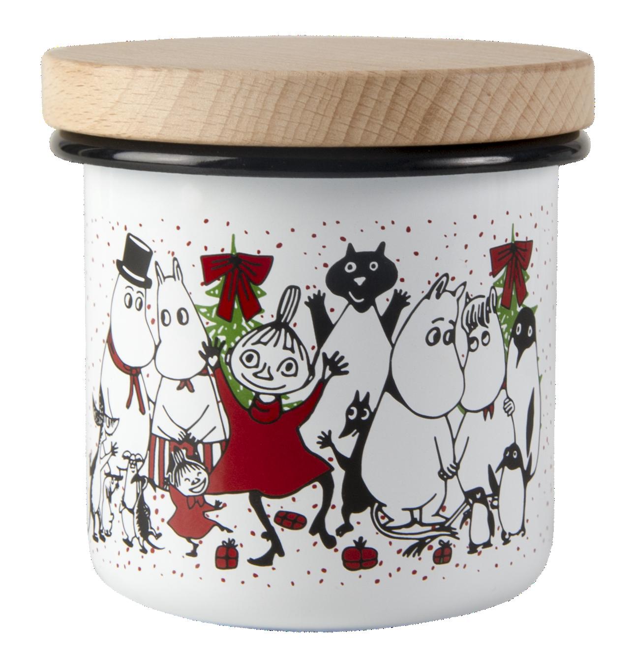Muurla Moomin Winter Magic enamel jar with wooden lid 3,7dl