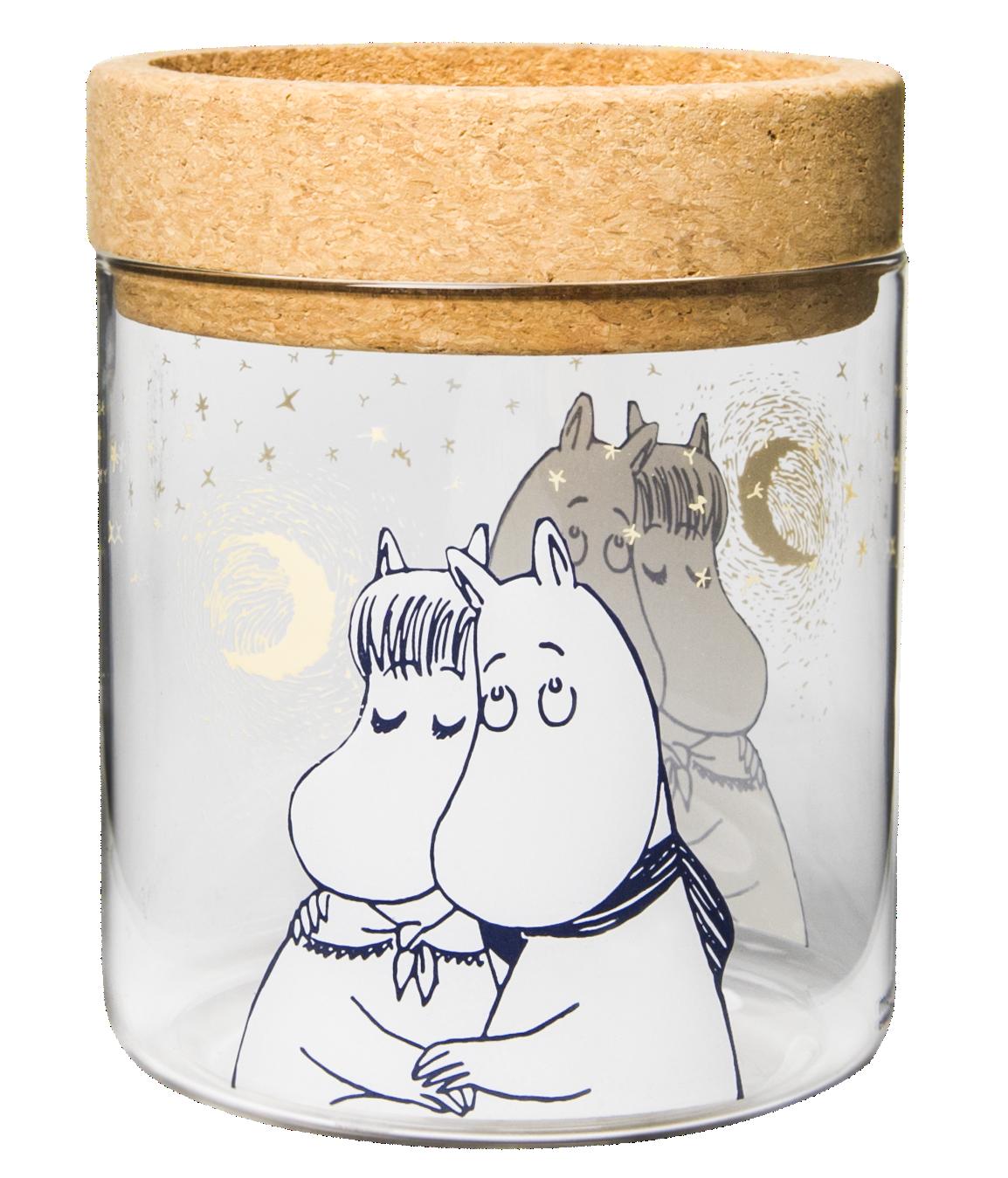 Muurla lantern/jar with cork stand/lid, Moomin Winter romance