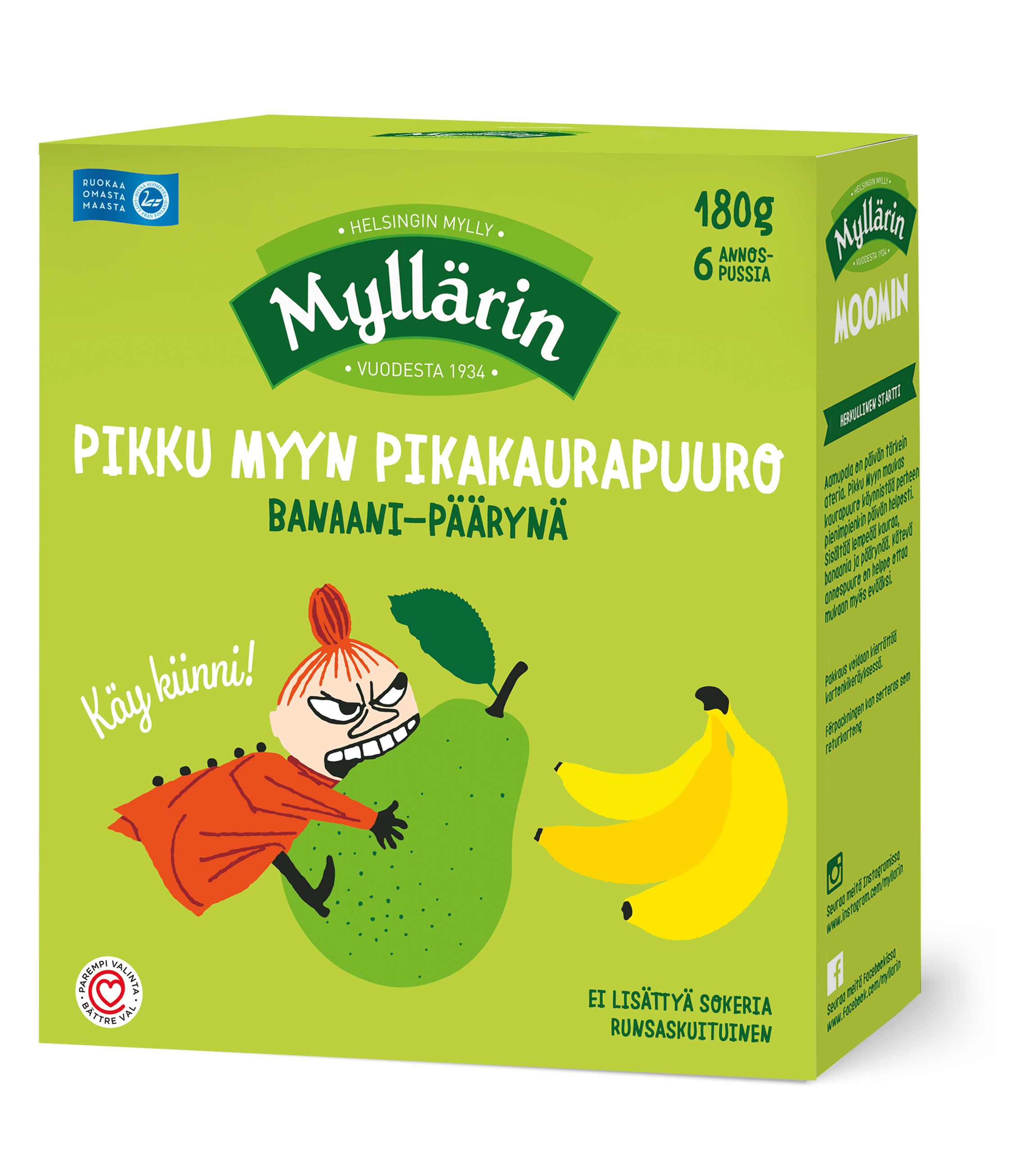 Myllarin Little My's Instant Oat Porridge Banana-Pear 6 x 30 g