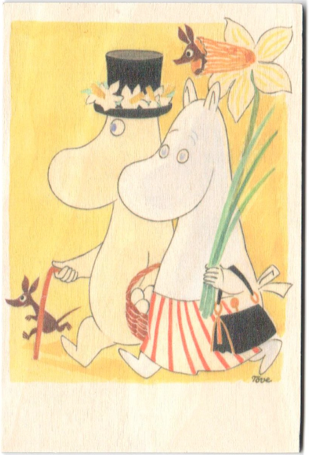 Come to Finland wooden Moomin Easter card - Mamma and Pappa