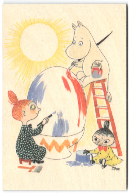 Come to Finland wooden Moomin Easter card - egg painting