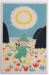 Come to Finland Snufkin playing flute wooden postcard