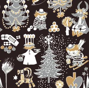 Suomen Kerta Oy Christmas Moomin napkin black