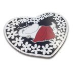 OPTO Pot Coaster Shaped -Heart Moomin Papa Black