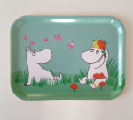 OPTO Tray 27x20 Moomin Orange Flowers & Butterflies, green