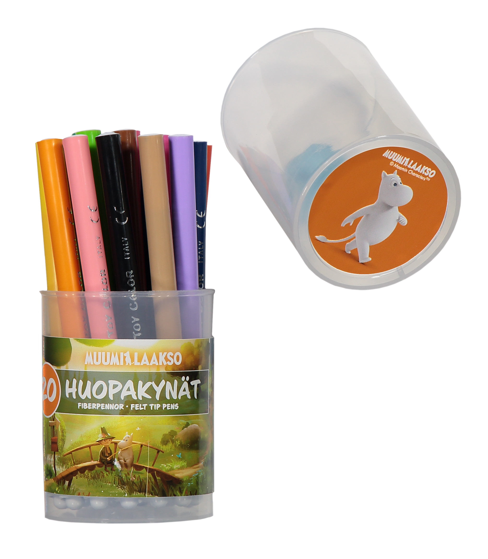 Anglo-Nordic Moominvalley 20 felt pens in jar