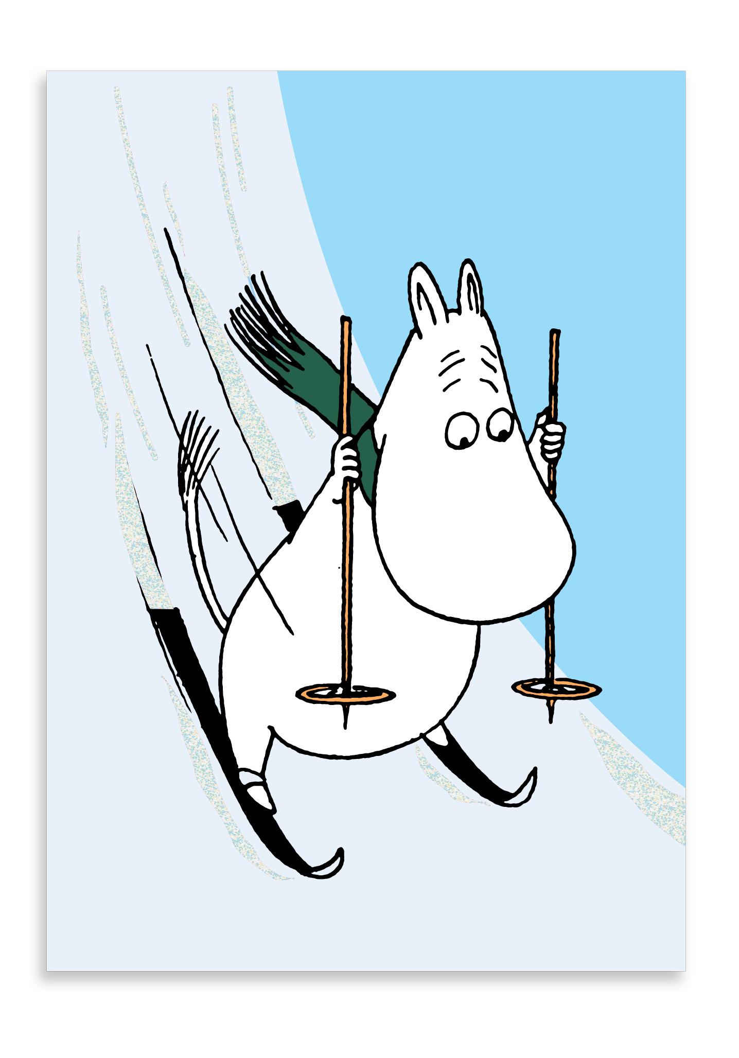Putinki Winter postcard Moomintroll skiing