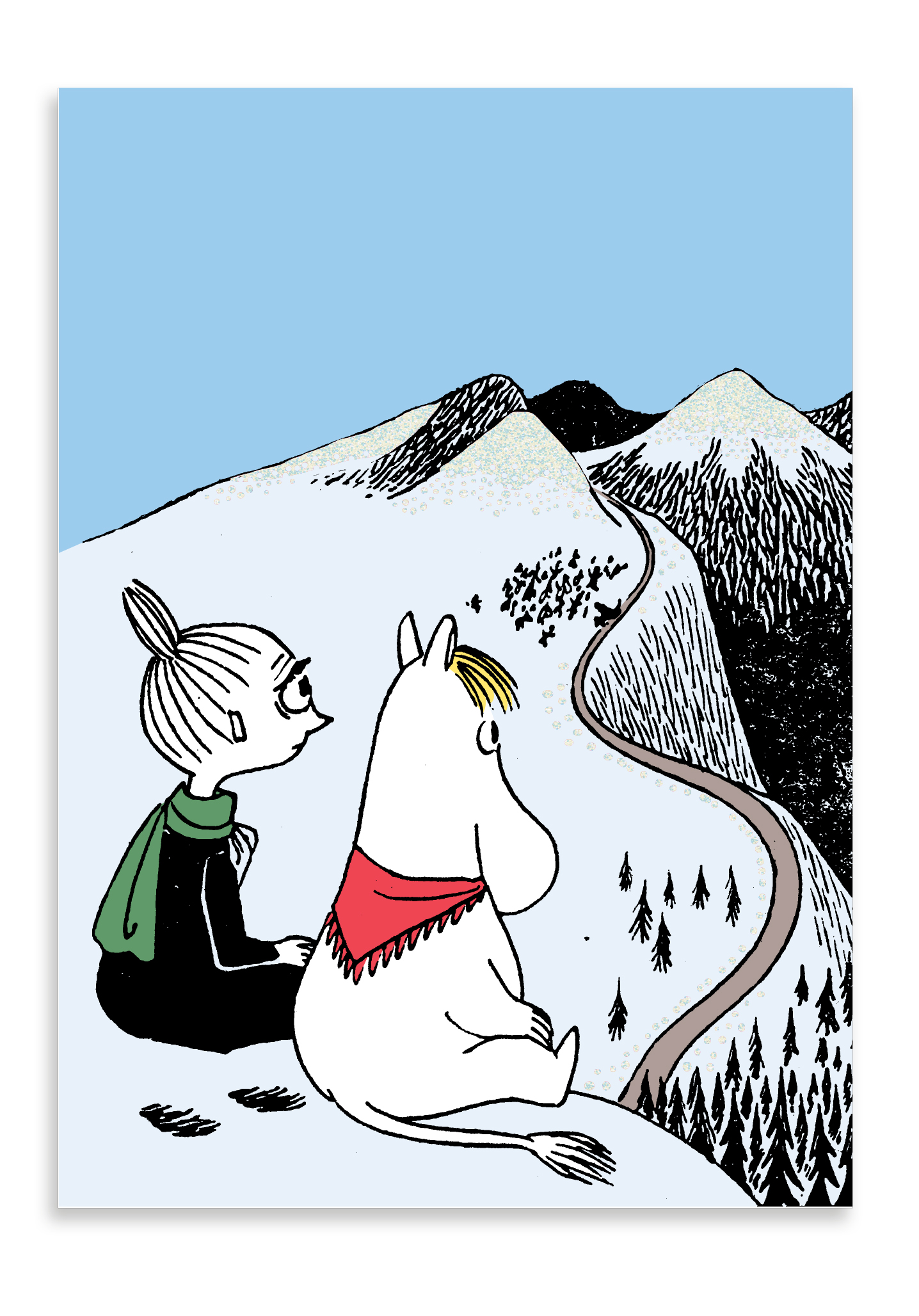 Putinki Winter postcard Mymble and Snorkmaiden on a mountain