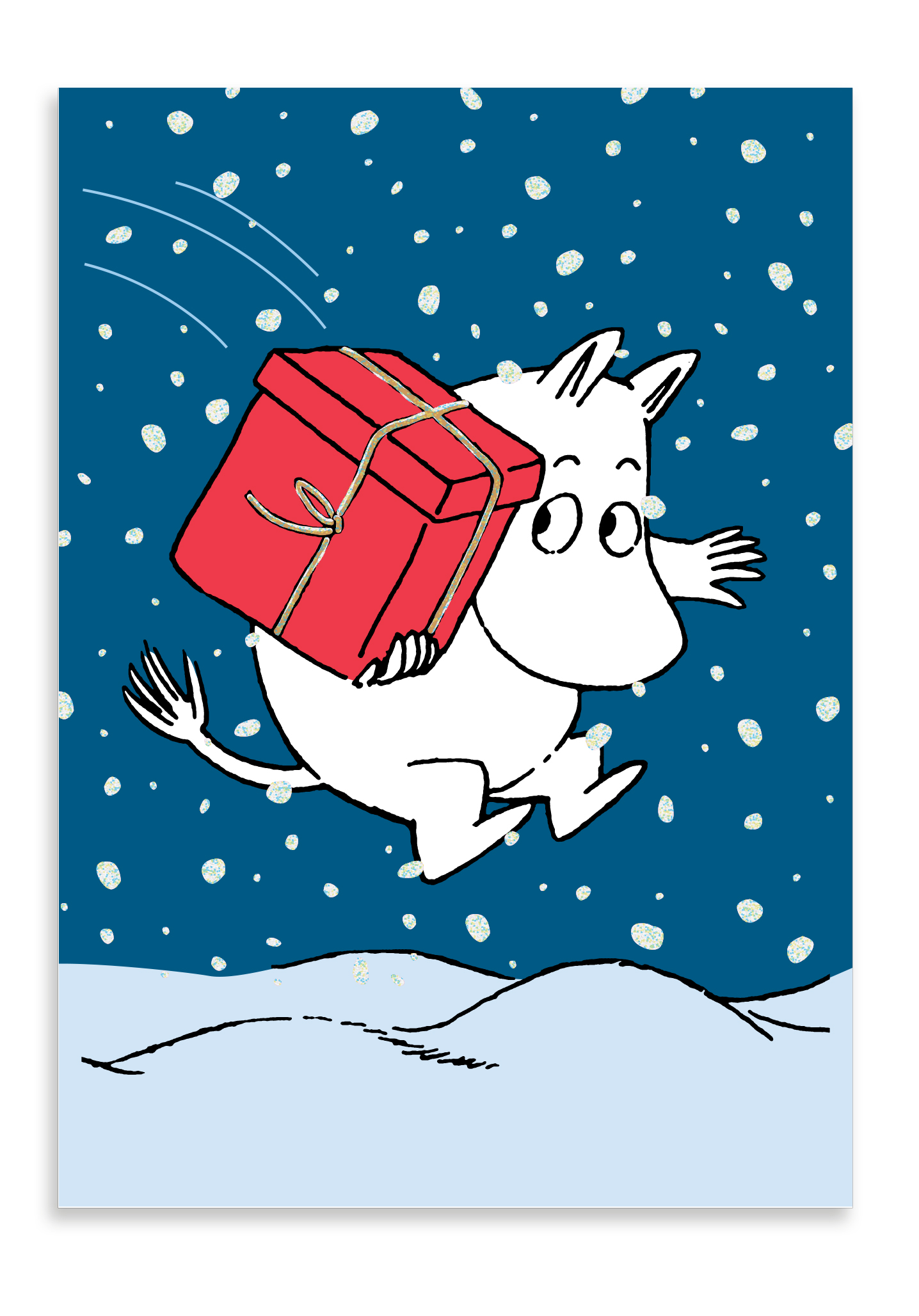 Putinki Winter postcard Moomin troll carrying a gift