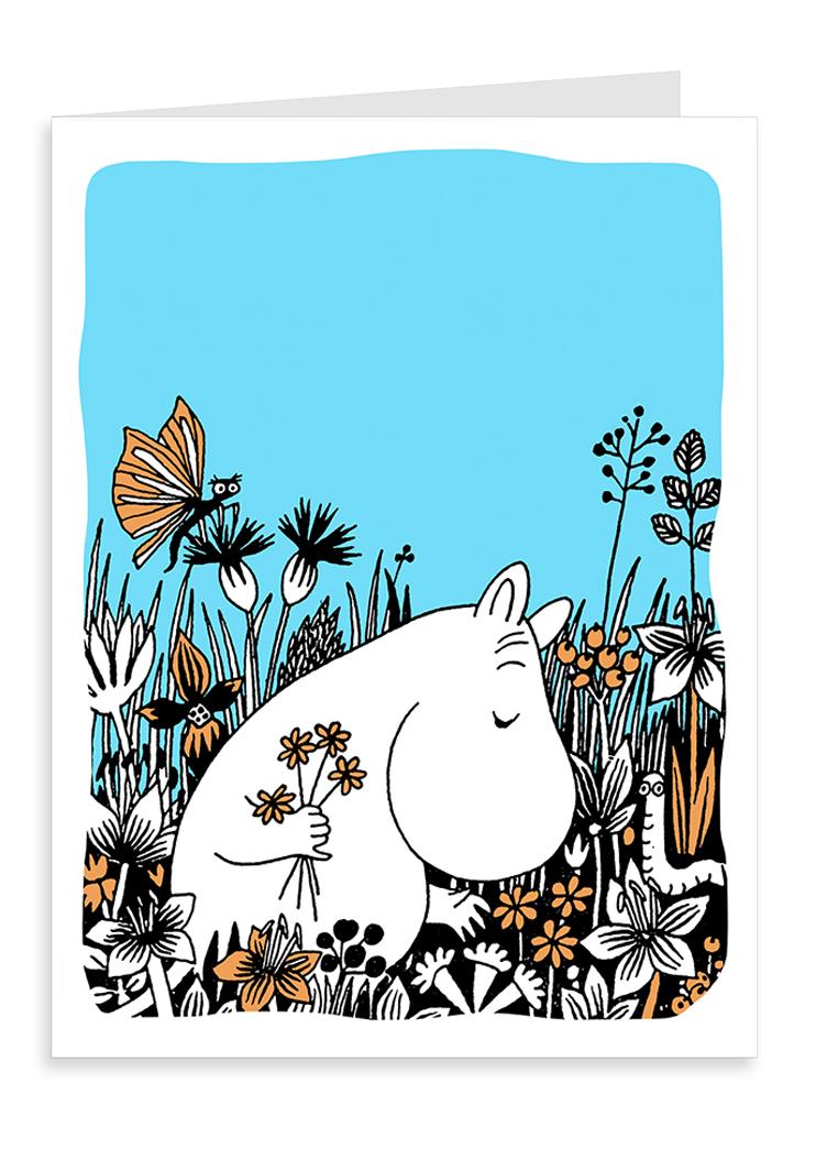 Putinki Letterpress Greeting Card Moomintroll picking flowers