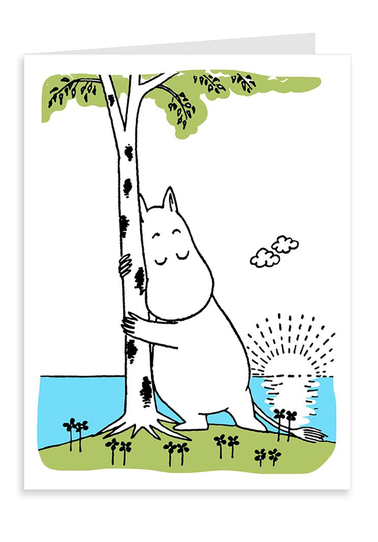 Putinki Letterpress Greeting Card Moomin hugging a tree