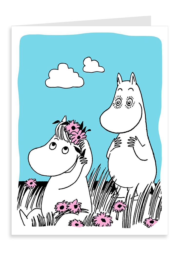 Putinki Letterpress Greeting Card Moomintroll in love