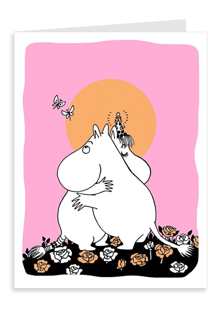 Putinki Letterpress Greeting Card Hugging Moomins