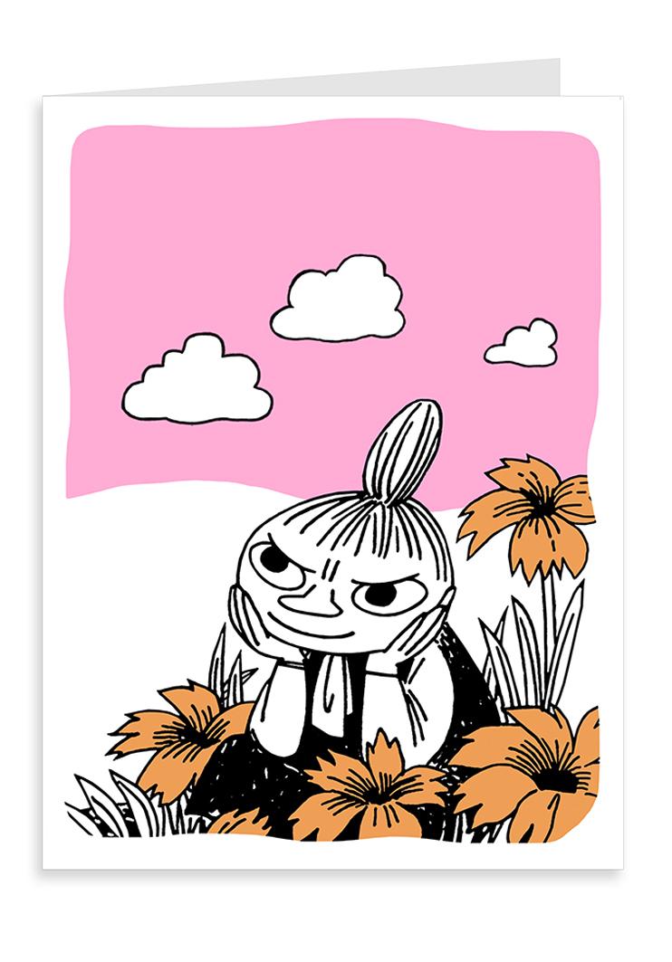 Putinki Letterpress Greeting Card Little My and flowers