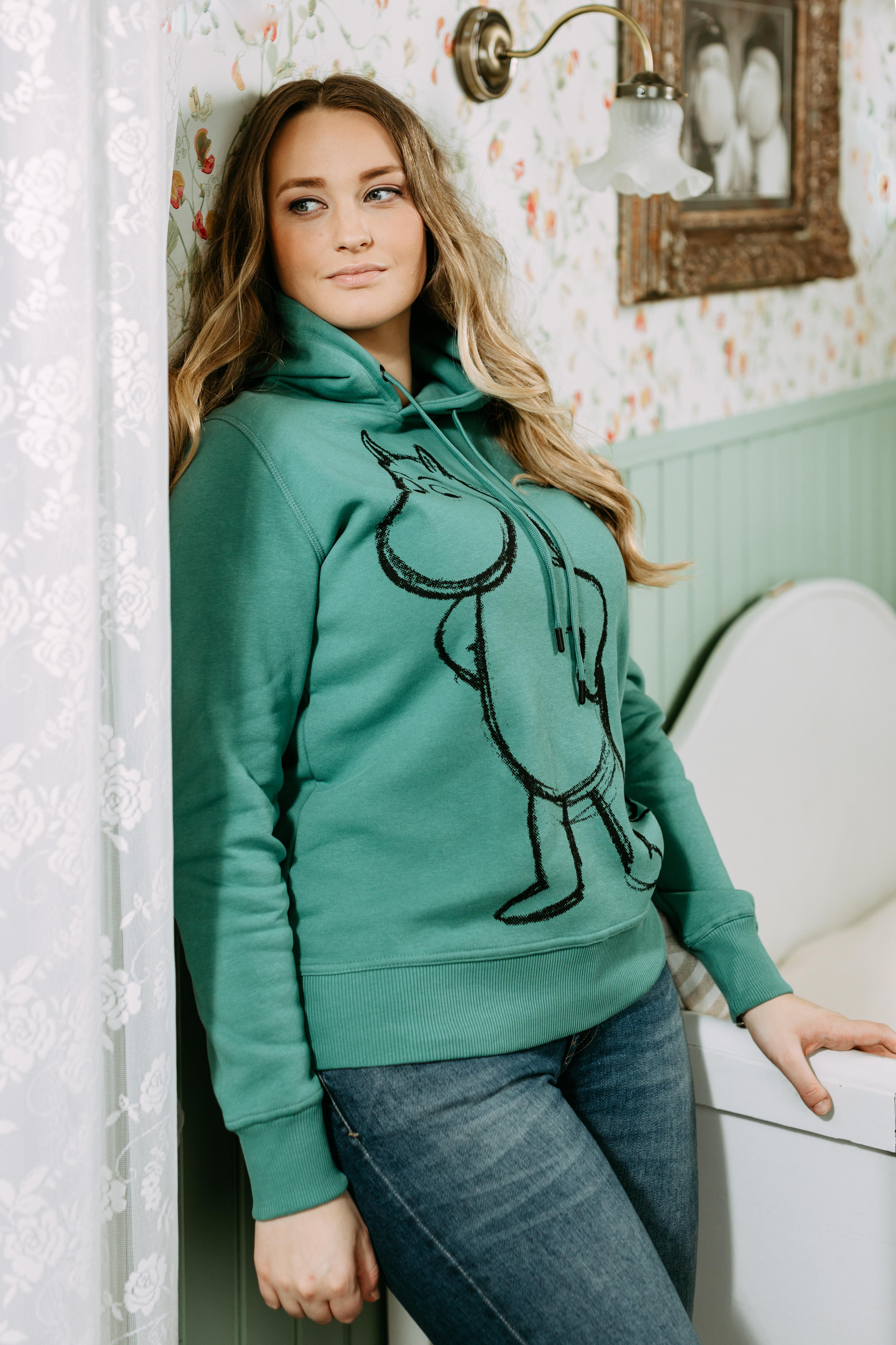 Martinex Moomin Lilli Hoodie Sketch Moomintroll Green