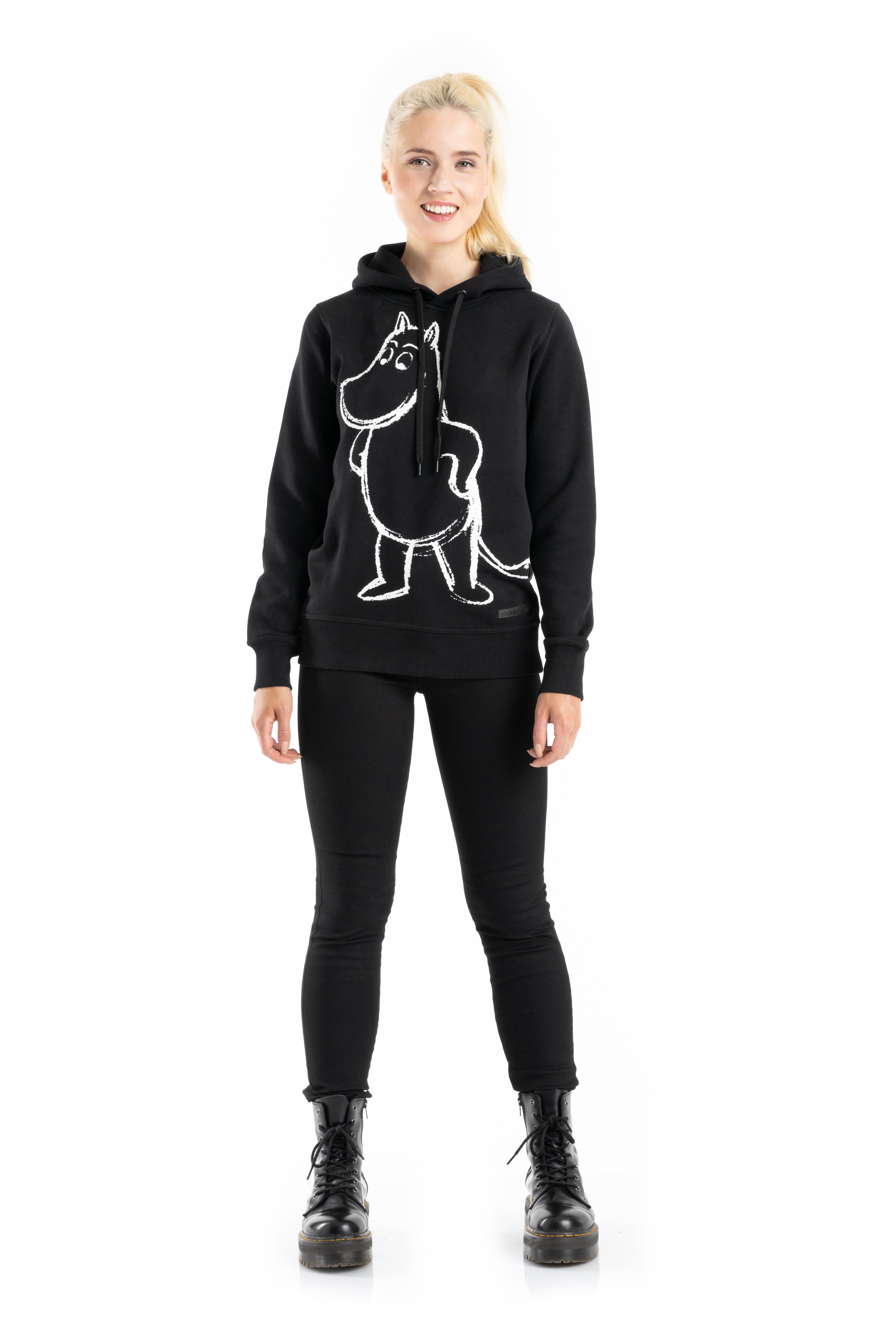 Martinex Moomin Lilli Sketch Hoodie Moomintroll Black