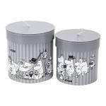 Bigso Hanna - set of 2 round boxes (grey)