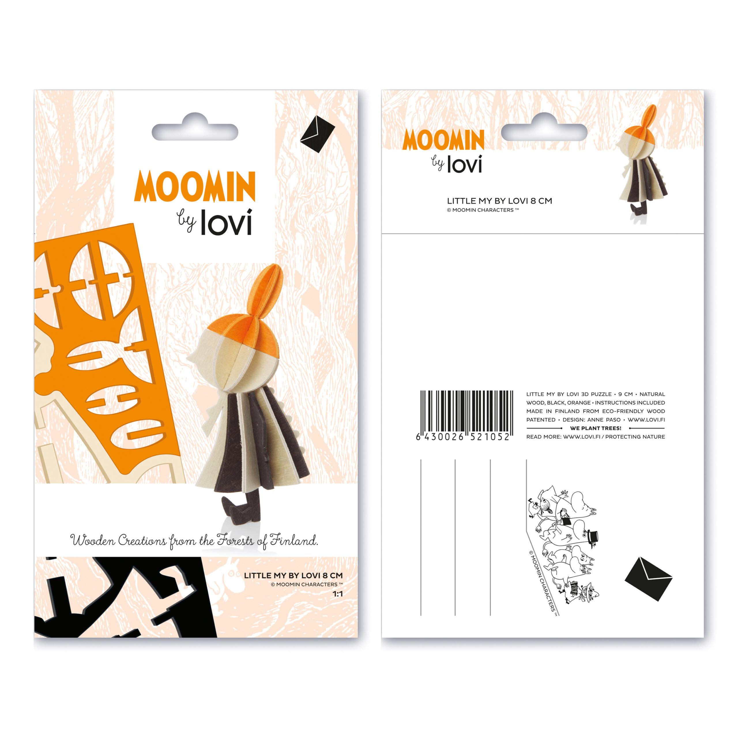 Little My by Lovi 8cm, wooden 3D puzzle, natural wood, black, orange