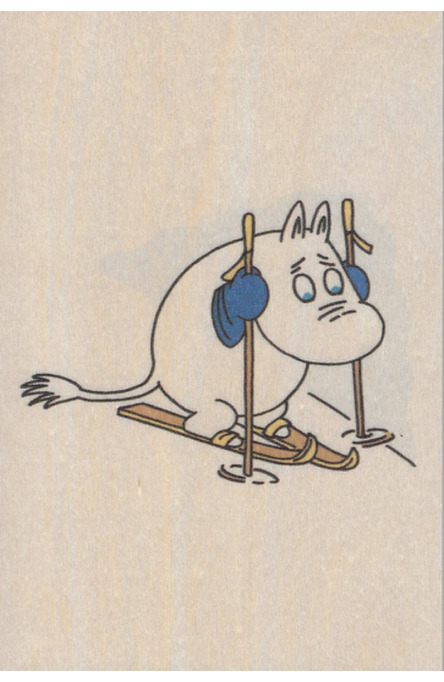 Come to Finland wooden postcard Moomintroll on skis MU13