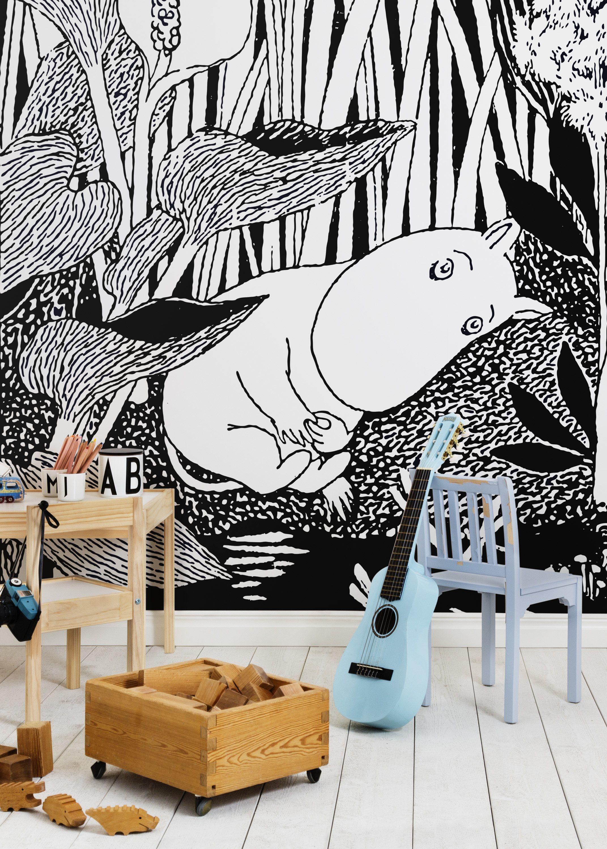 """Photowall Wall mural """"Moomin - Sleeping b/w"""""""