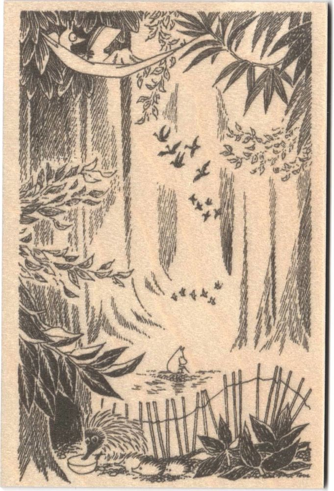 Come to Finland A5 Moomin B&W wooden postcard - forest