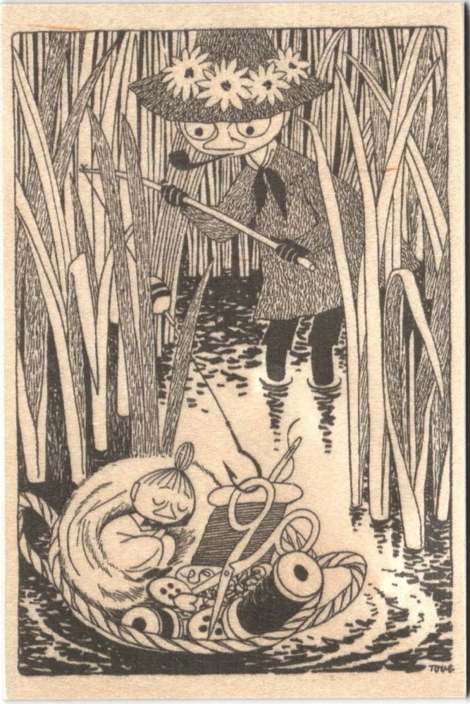 Come to Finland Moomin B&W wooden postcard - Little my and Snufkin