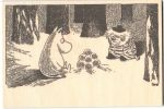 Come to Finand A5 Moomin B&W wooden postcard - winter
