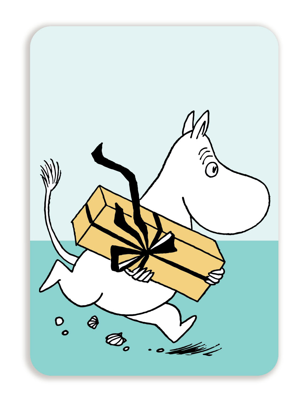 Putinki Postcard with rounded corners Moomin troll with a gift
