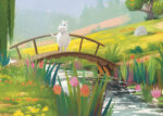 Putinki Postcard Moomintroll on a bridge