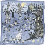 Lasessor silk scarf Moomin house blue