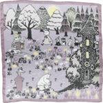 Lasessor silk scarf Moomin house mauve