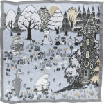 Lasessor silk scarf Moomin house grey