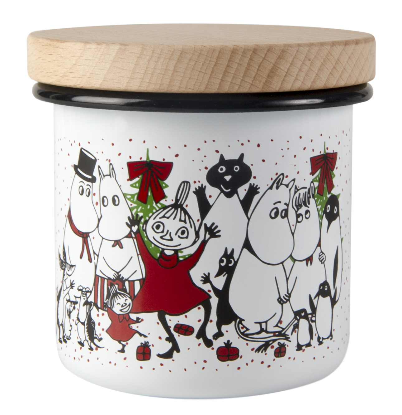 Muurla Moomin Winter Magic enamel jar with wooden lid 3,7dl
