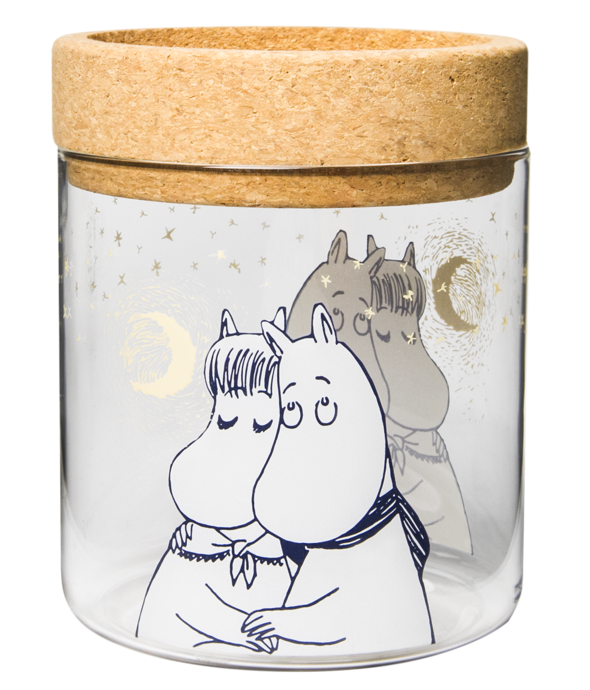 Muurla lantern/jar with cork stand/lid, Moomin Winter romance