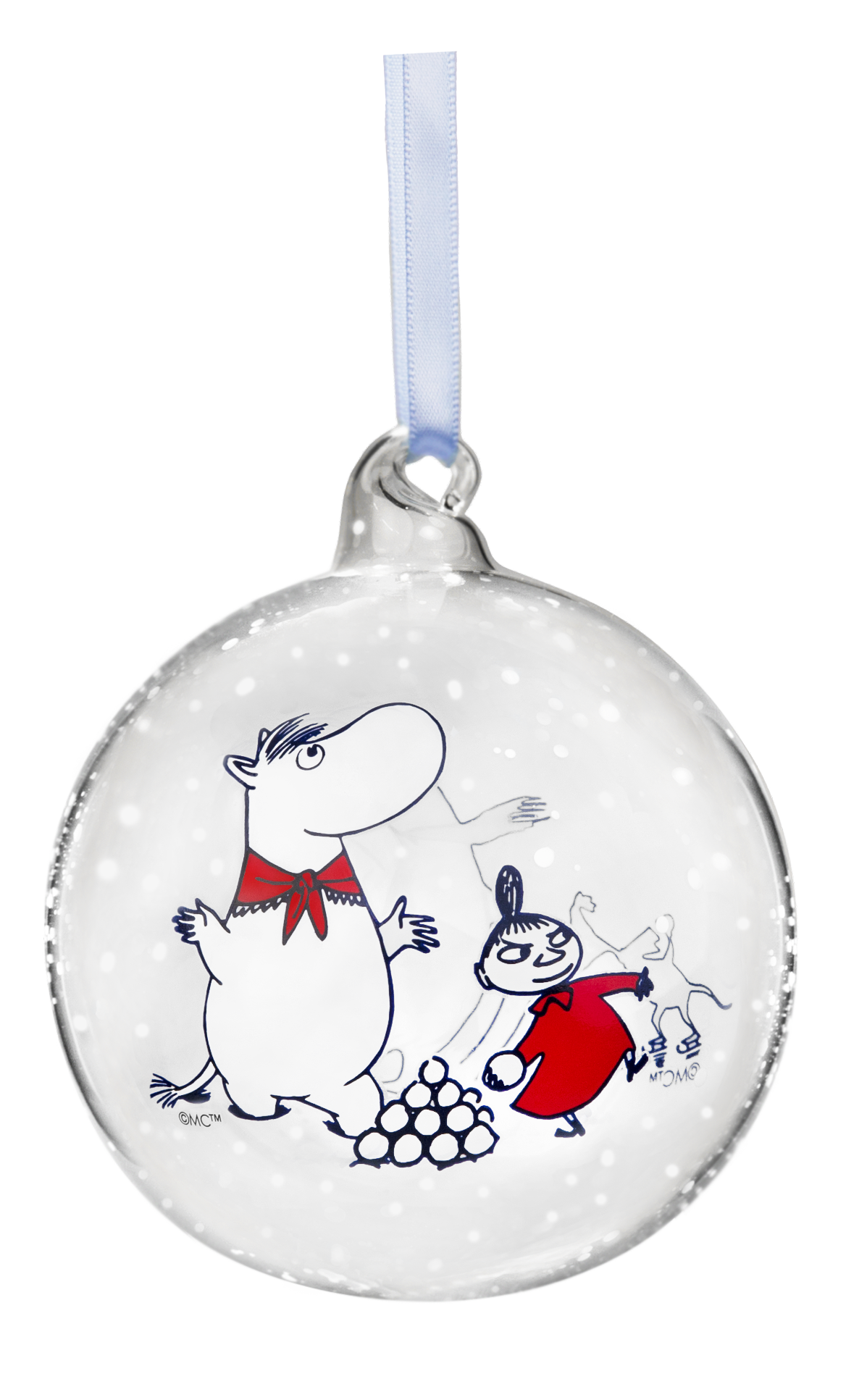 Muurla Moomin Winter Time - Moomin and Snorkmaiden decoration ball 9 cm