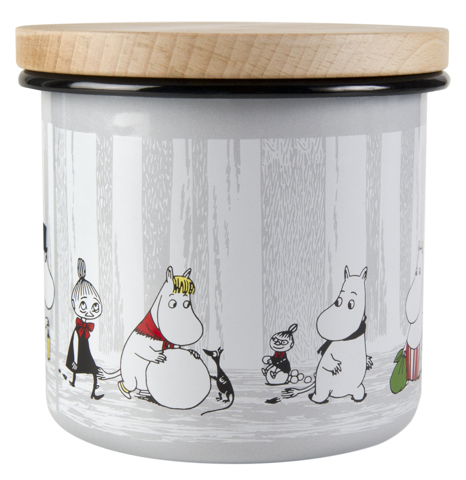 Muurla Moomin Winter Trip enamel jar with wooden lid 1,3L