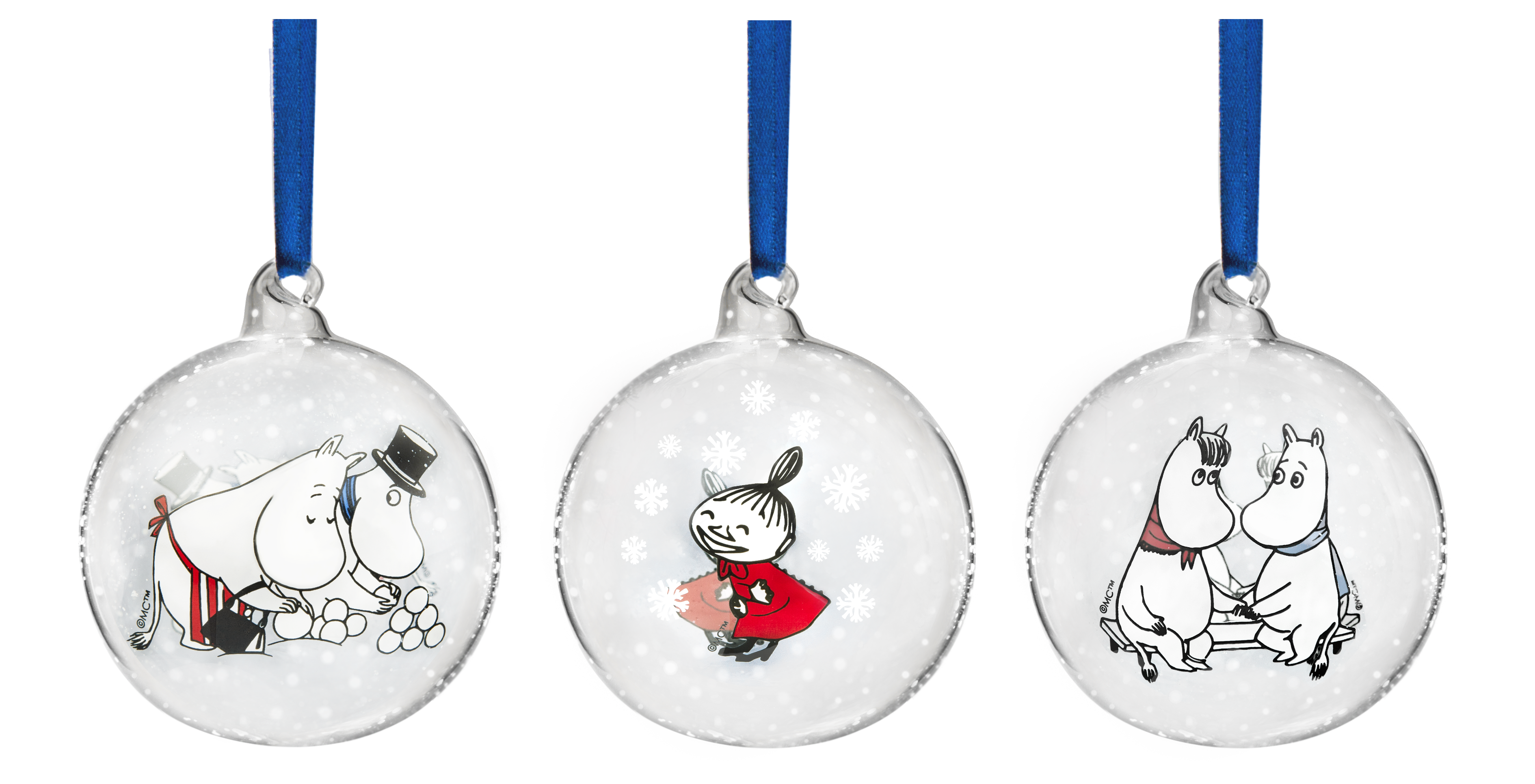 Moomin Winter Play decoration ball, set of 3